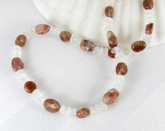 Dark Sunstone Nuggets, Moonstone Rondelles, and Sterling Silver Adjustable Necklace