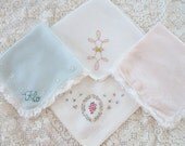 4 sweet vintage handkerchiefs, pastel cottage chic colors & styles, tea party, friendship gift, party favors, lace and embroidery, set of 4