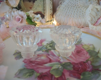 pair of vintage knobs, clear glass-look faceted acrylic knobs or bottle stoppers, small door knob size