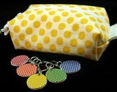 Yellow polka-dots mini box bag and stitchmarker set for KNITTERS