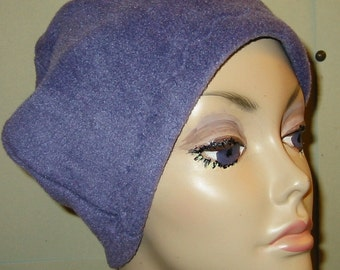 Violet  Anti Pill Fleece Hat, Winter Hat, Cancer, Chemo Hat, Alopecia