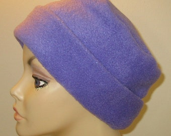 FREE SHIP USA Purple  Anti Pill Fleece Pillbox Hat, Winter Hat, Cancer, Chemo Hat, Warm Hat