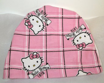 Kid's  Chemo Hat, Hello Kitty in Pink Squares  Kid'sCancer Cap, Alopecia, Sleep Cap Free Ship USA