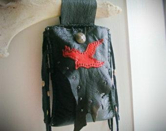 RAVEN Belt Pouch black deerskin leather, Cell Phone Bag, belt bag, biker bag, shaman bag, magic magik wiccan pagan, Talisman, tobacco pouch