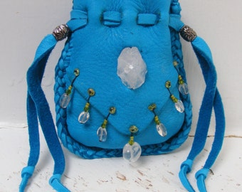 BIG SMILES turquoise NAVAJO deerskin Medicine Bag, Spirit Pouch w/Natural Quartz crystal & Peridot, reiki shaman talisman metaphysical wicca