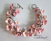 Pink Cherry Blossom Crystal Bracelet, Handmade Polymer Clay Flower Bracelet, Pink Cherry Blossom Jewelry, Pink Sakura Charm Bracelet