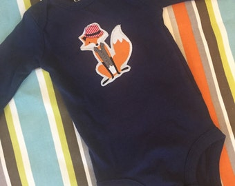 Long Sleeve Naby Blue dapper fox in fedora baby onesie size 3 to 6 months