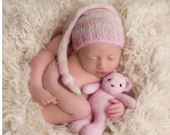 Pre- order ...Newborn photo prop knit teddy bear and baby sleep cap set