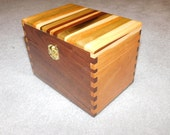 """Wood Recipe Box for 4"""" x 6"""" Index Cards - Walnut and Ash"""
