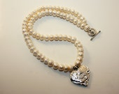 Silver Heart Pendant with Freshwater Pearls Necklace