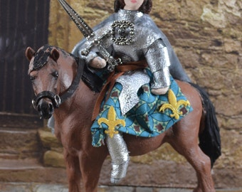 Joan of Arc Riding a Horse Diorama Doll Miniature Historical French Art Collectible