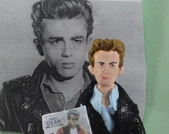 James Dean Doll Miniature Art Collectible 1950s Era Bad Boy Rebel Art Character