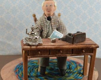 J. R. R. Tolkien Doll Miniature Diorama Desk Scene Classic Literature Author Art Doll Collectible