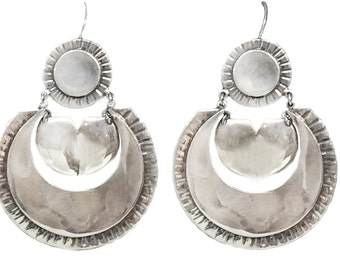 SALE Mexican silver style hoops