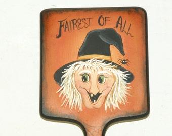 Halloween Mirror Hand Mirror Halloween Comical Witch Primitive Folk Art Holiday Decor