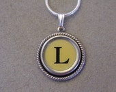 Typewriter key jewelry Necklace Butter CREAM  LETTER L  Typewriter Key Necklace Serif font L Initial Necklace L