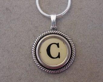 Typewriter key jewelry Necklace CREAM  LETTER C - Typewriter Key Necklace - Initial C serif font  Initial Necklace