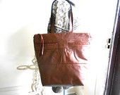 Cognac leather & tapestry carryall, zipper top tote bag - chestnut, charcoal grey - eco vintage fabrics