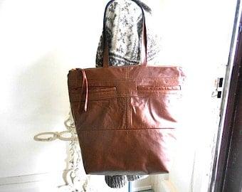 SAMPLE SALE Tapestry & cognac leather carryall  tote, shoulder bag - eco vintage fabrics