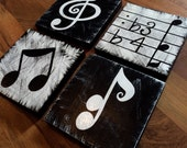 Music Inspired Black and White Wall Art set of 4