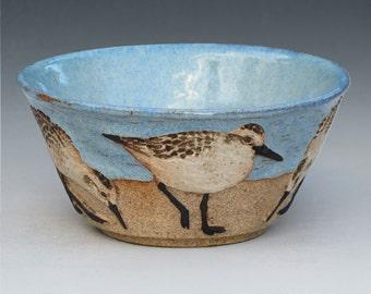 BIRDS & BEACH BOWL-- Medium 15 ounce size with 5 Sanderlings--2 of 3