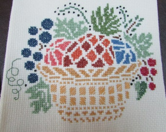 VINTAGE - Autumn-themed Cross Stitched Tea Towels