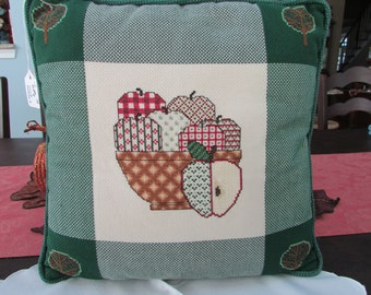 VINTAGE - Cross Stitched Pillow - Apple Design