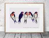 Welcome Swallows Poster, Australian Native Bird Illustration