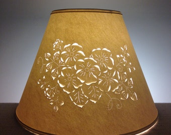 Paper Lampshade-Cut and Pierced Lampshade-Floral Lampshade-Flowers-Paper-Lamp Shade-Harp-Lighting-Home Decor-Punched Lamp Shade
