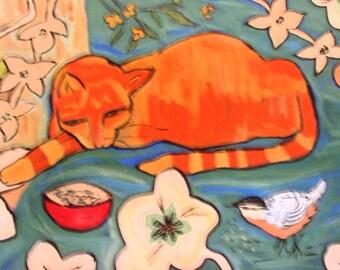 floorcloth painted rug kitchen mat bathroom mat orange tabby cat flowers bird funky floor mat custom order