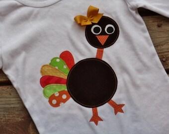 "Girls Custom Turkey tee  ""GOoBLE GOoBLE"" collection in sizes 6-12-18-24 mth 2-3-4-5-6-7-8-10"