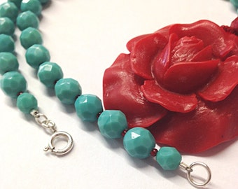 Large Red flower necklace - red rose necklace - red flower pendant - 3rd anniversary gift - 4th anniversary - flower jewelry - turquoise