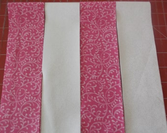 Jelly Roll 20 Fabric strips  2.5 x 44 inches Pink and White