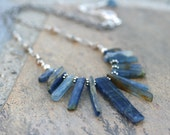 Natural Raw Blue Kyanite Spike Gemstone Necklace, Blue Gemstone, Sterling Silver Blue Kyanite Jewelry, Handmade Blue and Silver Necklace