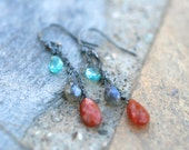 Sunstone, Labradorite, Apatite Gemstone Trip Wire Wrapped, Oxidized Sterling Silver Handmade Earrings