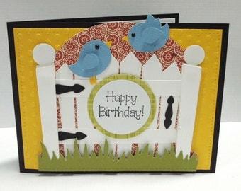 Happy Birthday Bird Card blank