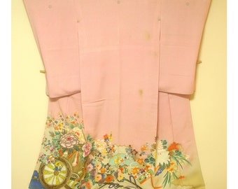 Bouquet of Blossoms - Antique Japanese Silk Kimono Semi Formal Crested Irotomesode Women Silk