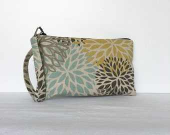 Square Wristlet Zipper Pouch - Blooms Laken Collins