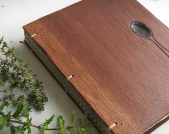 Personalized Recipe book Wooden covers Rustic kitchen