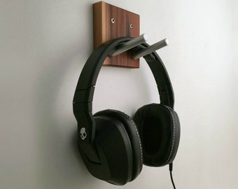 Rustic Reclaimed Headphone Wall Hook in Wood and Metal, Headset Earphones Hook, Gift For Musician, Small Wood Gift