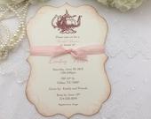 Bridal Shower Tea Party Invitations Blush Set of 10 Engagement Teapot Printed Invitations