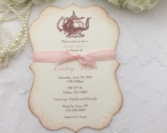 Bridal Shower Tea Party Invitations Blush Set of 10 Engagement Teapot Printed Invitations