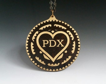 Pdx, chain ring pendant, pdx love, portlandia, bicycle jewelry, bike jewelry, portland jewelry, chain ring necklace, I heart portland, heart