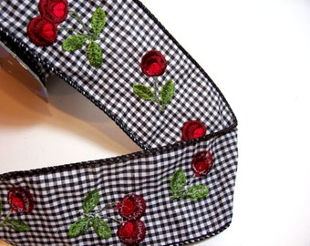 Offray Cherries Ribbon, Black Gingham Wired Fabric Ribbon 2 1/2 inches wide x 5 yards, Bolt of Wired Ribbon