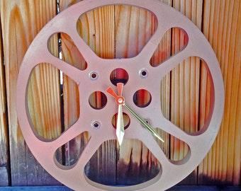 Clock, Movie Reel Clock, Wall Clock, 16mm Metal Movie Reel Clock, Recycled, Upcycled Gift Item #20