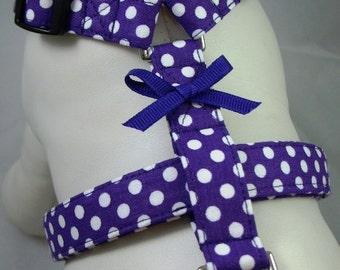 Dog Harness - Purple Polka Dot