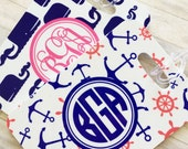 Monogrammed Luggage tag, Heavy duty Fiberglass reinforced baggage tag, Nautical patterns, preppy whales and anchors tags 2 patterns