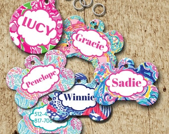 Monogrammed Dog identification tag, lilly inspired designs, preppy id tag, bone shaped dog tag, double sided 12 designs