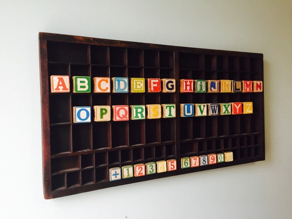 Educational Children's Vintage Alphabet and Number Block Art