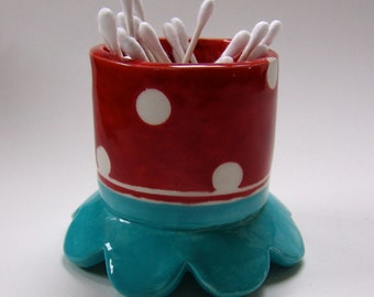 whimsical pottery Bathroom storage Cup, ceramic cotton swab holder :) red, turquoise, polka-dots home decor